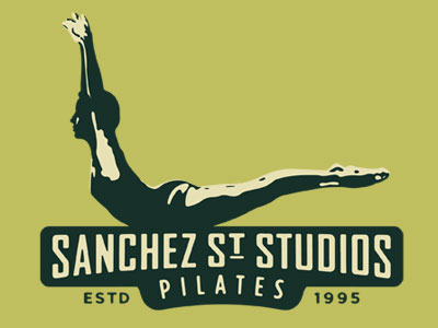 Logo drawing of woman exercising and the words Sanchez Street Studios Pilates, Estd. 1995